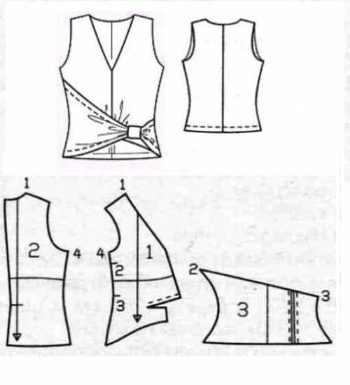 Выкройка ассиметричного топа с драпировкой