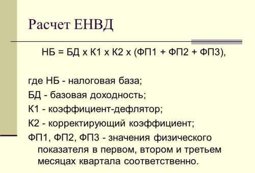 Расчет ЕНВД, как считать ЕНВД