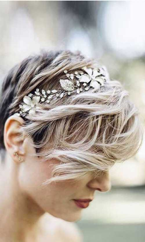 Свадебная прическа на короткие волосы, украшения для волос